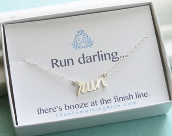 Gift for Runner • Run Necklace • Fitness Jewelry • Run Word Charm • Running Necklace • Marathon Jewelry • Runner • Training Jewelry