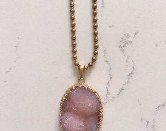 Pink Druzy necklace, Long Druzy necklace, Gemstone necklace, Gold necklace, Long Layering necklace, Boho necklace, Everyday jewelry