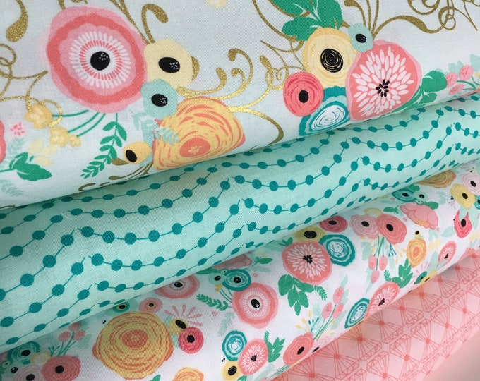 Fabric by the Yard, Baby Quilt fabric, Cloth Napkins or Patchwork Quilt Fabric, Cotton Fabric, Just Sayin fabric bundle of 4- Choose the Cut