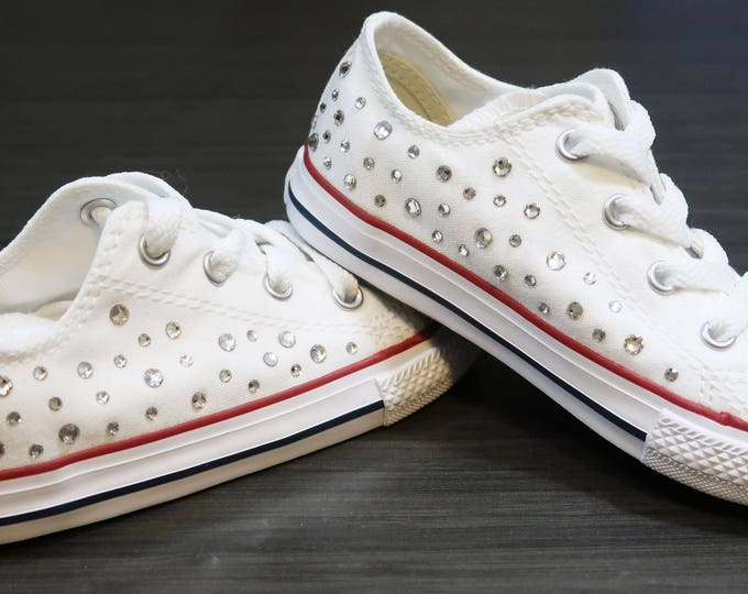 LUXURY Customised White Toddler Infant Low Top Converse® All Star® Embellished With The Finest Swarovski Crystals