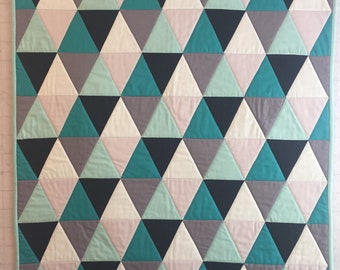 Handmade Baby Quilt, Gender Neutral Baby Quilt, Modern Baby Quilt, Triangles, Geometric Baby Quilt, Toddler   Quilt, Turquoises, Grays, Blac