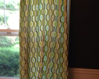 "Custom Set of 2 Drapes Curtains 84"" Blue & Green Geometric"