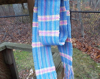 Hand Woven Scarf in Blue and Pink, 100 cotton scarf, lightweight scarf, hand-weaving, woven accessories, gifts for women, handmade scarf
