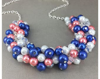 Coral and Royal Blue Necklace Pearl Jewelry Bridesmaid Gift for Her Cluster Necklace Coral Necklace Coral Wedding Royal Blue Jewelry