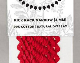 Naturally Dyed 4mm Rick Rack-Red
