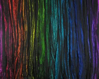 Black Neon Rainbow Wool Silk Top Roving - 50/50 Superfine Black Merino and Silk - 17 colors - 5.6 oz. (160g) - GLOWS under Blacklight