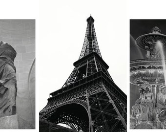 Paris Prints - Set of 3 - Fine art travel photography - Eiffel, Fountain sculpture - Black and White - minimalist beauty - Home, Corporate