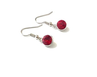 Birthstone earrings,  red earrings,  July earrings,  silver earrings,  birthstone jewelry, ruby earrings