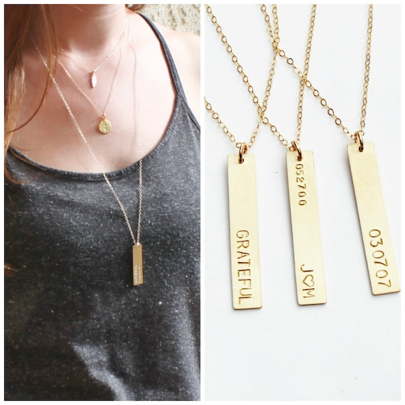 verticalbar necklace products faithandnate bar gold vertical nate faith boutique rose message