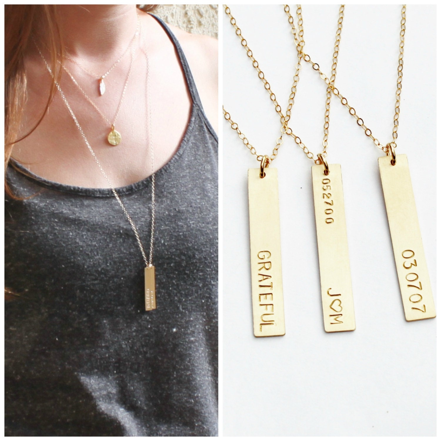 gold vertical dogeared balance pendant necklace bar dipped