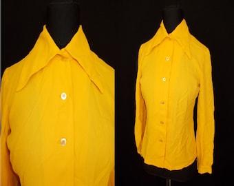 Mustard Yellow Crepe Rayon Vintage 1970's Women's DISCO Blouse Shirt S M
