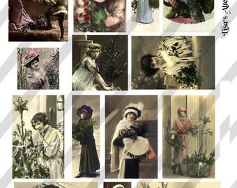 Digital Collage Sheet Christmas Ladies Postcard Images (Sheet no. O103) Instant Download