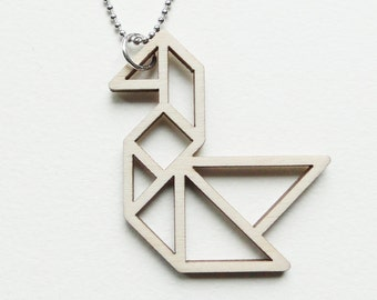 Tangram swan necklace ~ Laser cut from birch wood ~ Geometric pendant ~ Gift boxed
