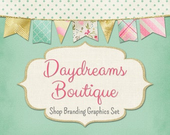 Bunting Shop Branding Banners, Avatar Icons, Business Card, Logo Label + More - 13 Premade Graphics Files - DAYDREAMS BOUTIQUE