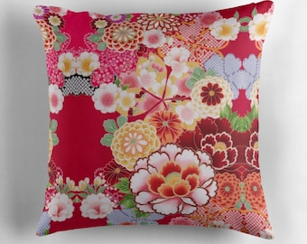 Red Floral Burst Throw Pillow, Floor Pillow, Pillow Case and Insert - 6 Sizes Available!