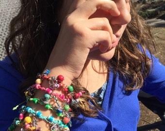 Set of 5 colorful charm bracelet
