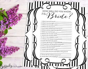 How well do you know the Bride? Bridal Shower Game - INSTANT DOWNLOAD - Printable Black & White Wedding Shower Party Game
