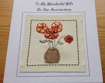 8th bronze anniversary card for husband, wife. Handmade eighth anniversary card which can be personalised with your choice of words printed
