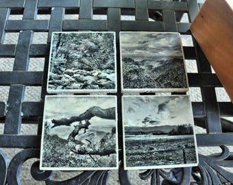 Smoky Mountain Photo Art tile Coasters, set of 4 in black and white