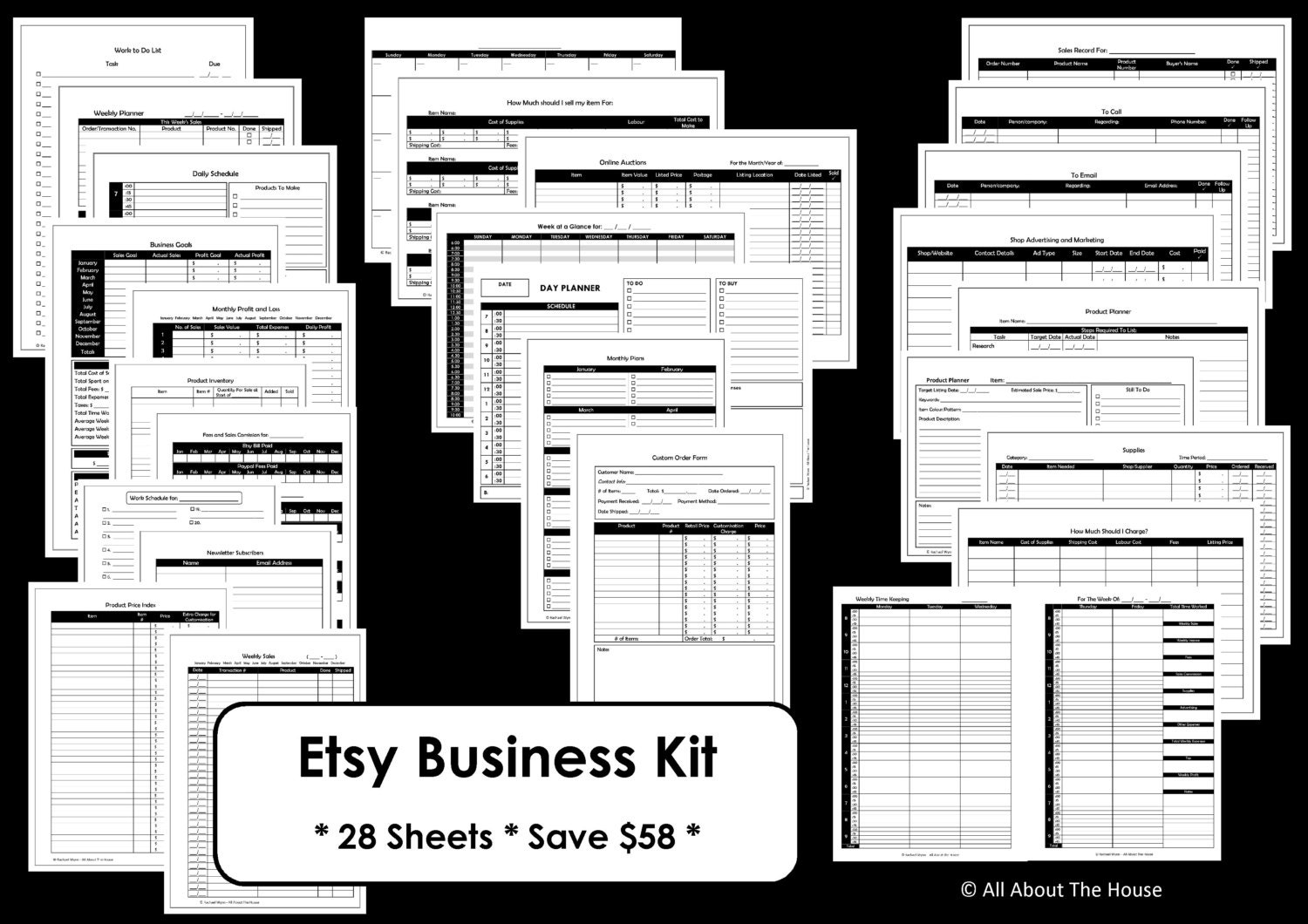 Etsy business planner printables work at home mom online zoom flashek Images