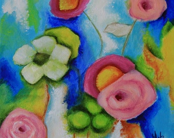 """Flowers Summer Whimsical Original painting Art  8"""" X 8""""  colorful Bouquet Gift Home Decor Deb Harvey Floral"""