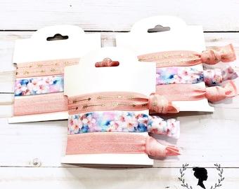 Peach, Floral and Arrow Hair Tie Set