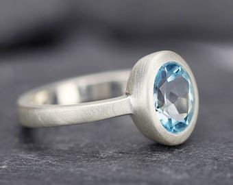engagement ring silver, Blue topaz ring silver, blue topaz rings, oval stone ring, sterling silver ring, topaz ring, silver ring