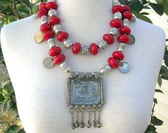 DRAMATIC Afghan Kuchi Pendant, Ethiopian Beads, Red Tibetan Resin Beads, Detachable Short Strand,3 Looks,Versatile Necklace by SandraDesigns