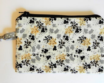 Notions Pouch, Grey/Black/Gold Floral, Knitting notion pouch, crochet notion pouch