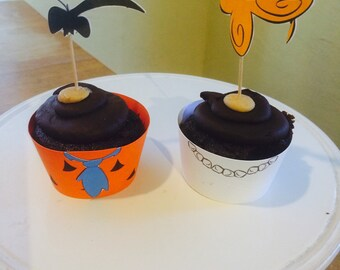 Fred Flintstone and Wilma Flintstone Cupcake Wrapper and Topper