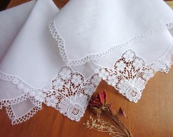 Lace wedding handkerchiefs bridal hankies white hanky  - set of 2.