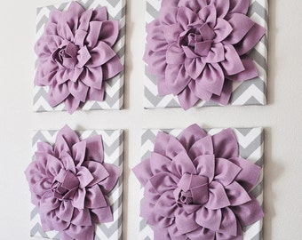 Purple Wall Decor  SET OF FOUR Lilac Dahlias On Gray And White Chevron 12  X12