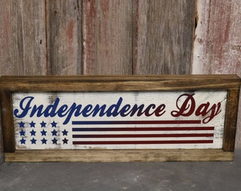 Independence Day Stars & Stripes Blue to Red Ombre Framed Wooden Sign
