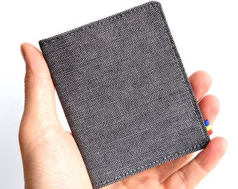 Gray Cotton Wallet. Vegan Wallet. Slim Wallet. Thin Wallet. Minimalist. Upcycled Wallet.