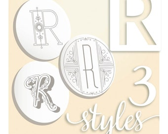 Modern Monograms Letter R hand embroidery patterns in three styles Alphabet Letter embroidery designs by SeptemberHouse