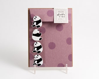 Midori panda stationery set with letter paper, four patterned envelopes, and four envelope seals