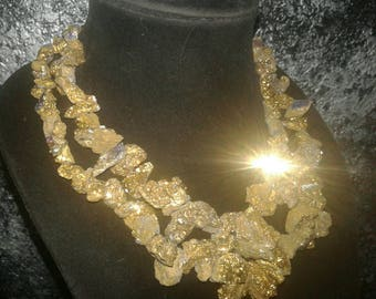 Bold Chunky Golden Bronze Druzy Baroque Statement Necklace Raw Rough Jewelry Elegant WILMA FLINTSTONE Jeans Jewelry Pagan Couture Striking