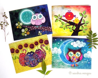 Postcard Set of 8 - Whimsical Fauna Set 1 - Postcrossing, Snail Mail, Owls, Cats, Lovebirds
