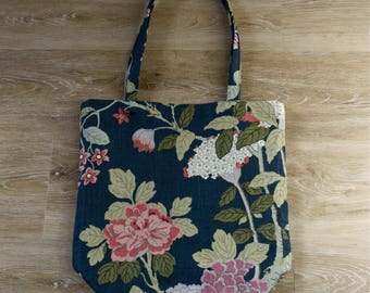 Printed linen canvas tote bag