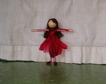 Magenta and Pink Flower Fairy -  Gerber Daisy Fairy Doll - Waldorf Doll - Bendy Doll - Art Doll
