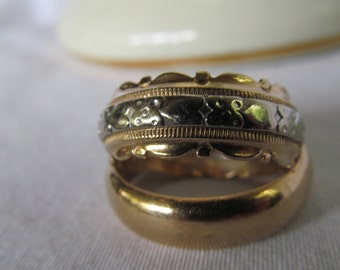 Beautiful 2 Tone 14K Yellow Gold Ring and White Gold 14K Cigar Band Ring Sz 6 Wedding Bands 14K Scalloped Edge Ring