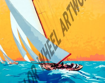 """La Baule Sailing French Vintage Travel Poster 22""""x37"""" Giclee Canvas Gallery Wrap Boat Sail Nautical"""