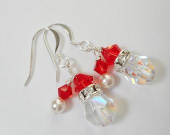 Fun Santa Christmas  Earrings Made with Swarovski Crystal and Pearl Beads.