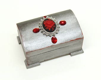 Gothic jewelry box - ring bearer box, wooden treasure box, trinket box, ring box, wedding ring box - Gothic Victorian art