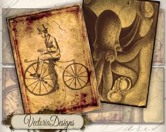 Steampunk ATC vintage images digital background instant download printable collage sheet VD0160