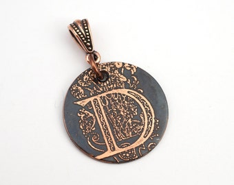 Initial D pendant, small round flat metal copper etched monogram, optional necklace, 25mm