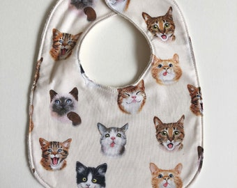 Silly Cats Baby Bib with Organic Cotton