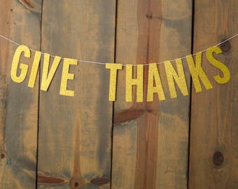 Give Thanks Glitter Banner Autumn Fall Thanksgiving Decoration