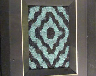 Ripple - Handwoven Deflected Double Weave framed textile art, blue, teal and black 8x10