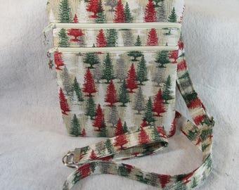 Christmas Trees Theme Fabric Crossbody Handbag w/adj strap